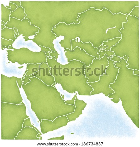 Map of West Asia - stock photo