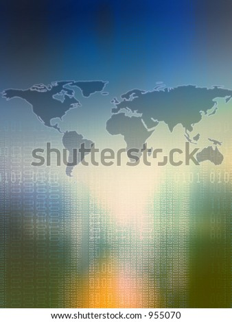 Map of world and digits. - stock photo