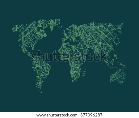 Map of World network. Continents of planet Earth. Business concept illustration link in world.  World Wide Web around globe.