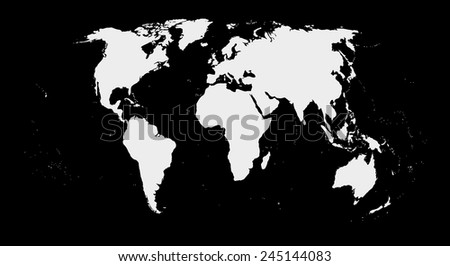 map of world on black background - stock photo