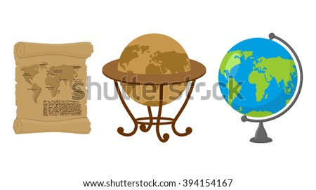 Map of world. Set of map Earth. Ancient scroll with drawing of continents and oceans. Retro Antique Globes. Geographic globe of Earth. - stock photo