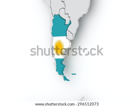 Map of worlds. Argentina. 3d - stock photo