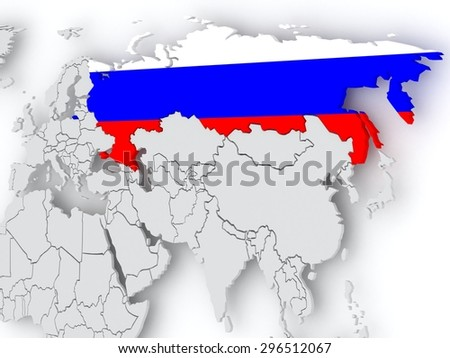 Map of worlds. Russia. 3d - stock photo
