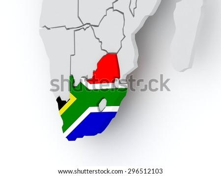Map of worlds. South Africa. 3d - stock photo