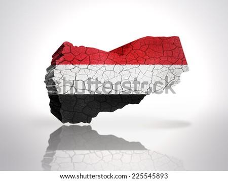 Map of Yemen with Yemen Flag on a white background - stock photo