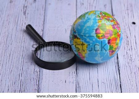Map on Globe. World globe - stock photo