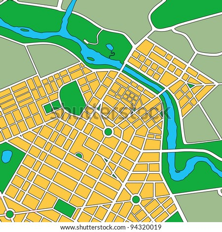 Map or plan of generic urban city showing streets and parks - stock photo