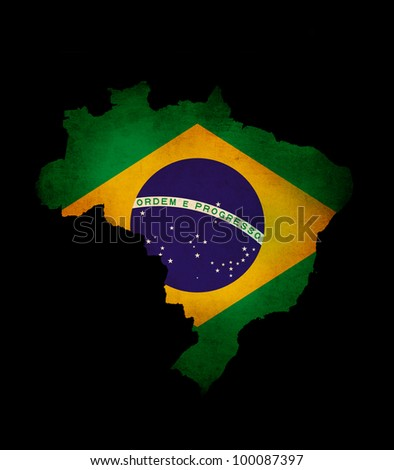 Map outline of  Brazil isolated on black with grunge effect flag insert - stock photo