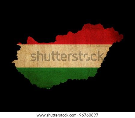 Map outline of Hungary with flag insert grunge effect - stock photo