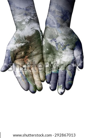 Map painted on hands showing concept of having the world in our hands. Elements of this image furnished by NASA - stock photo