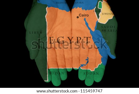 Map Painted On Hands Showing The Concept Of Having Egypt In Our Hands - stock photo