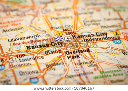 Map Photography: Kansas City on a Road Map - stock photo