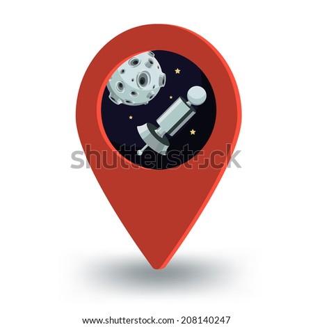 Map pointer, satellite and moon - stock photo