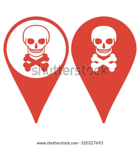 Map pointer. Skull icon isolated. Flat design style  - stock photo