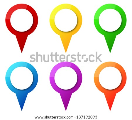 Map Pointers With Blank Circle Tag - stock photo