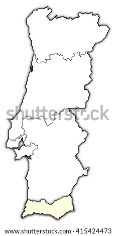 Map - Portugal, Algarve - stock photo