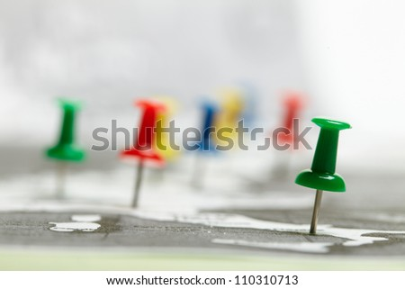 map route marked - stock photo