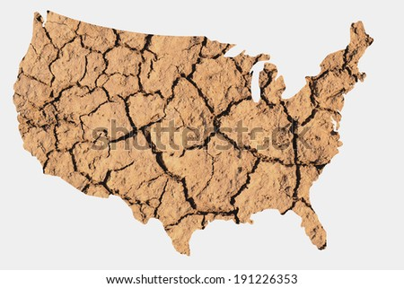 Map shape of the United States with dry parched earth representing drought conditions due to Climate Change also know as Global Warming. - stock photo