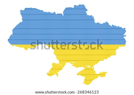 Map ukraine with flag on white isolated , wood texture. - stock photo