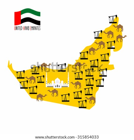 Map United Arab Emirates (UAE). Desert and oil rigs. Infographics minerals oil and animal world: camels. Abu Dhabi Sheikh Zayed White Mosque.   - stock photo