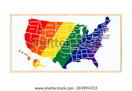 Map United States Gay Pride colors blackboard isolated on white background - stock photo