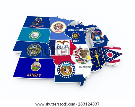 map usa midwest region new - stock photo