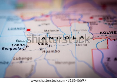 Map view of Angola State, Africa. (vignette) - stock photo
