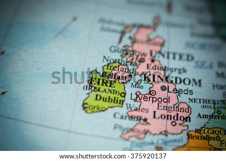 Map view of Belfast, Northern Ireland on a geographical map. - stock photo