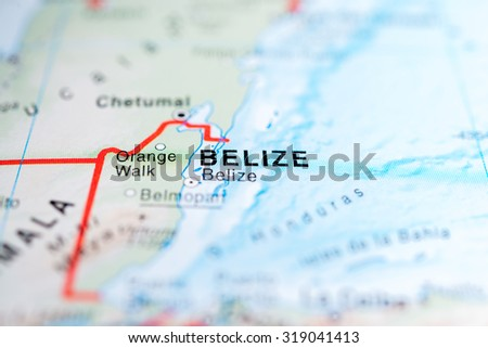 Map view of Belize state, Central America. - stock photo