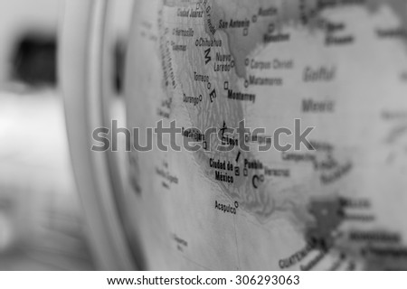 Map view of Ciudad de Mexico on a geographical globe.  - stock photo