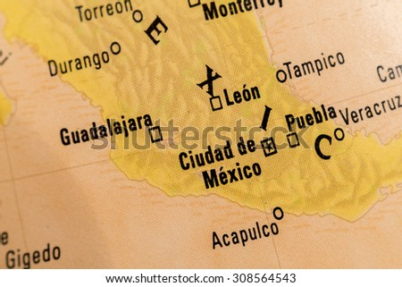 Map view of Ciudad de Mexico on a geographical globe - stock photo