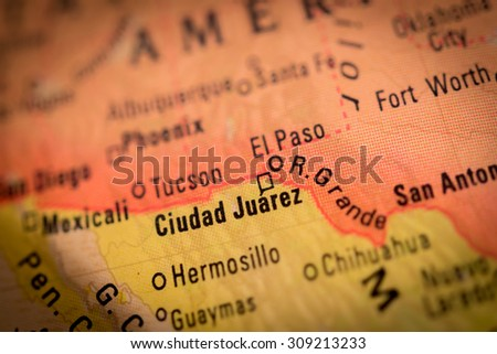 Map view of Ciudad Juarez on a geographical globe - stock photo