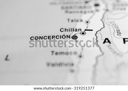 Map view of Concepcion, Chile. - stock photo