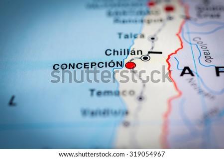 Map view of Concepcion, Chile. (vignette) - stock photo