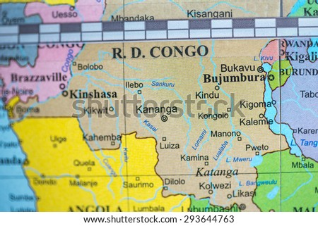 Map view of Democratic Republic of Congo on a geographical globe. - stock photo