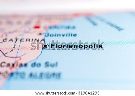 Map view of Florianopolis, Brazil. - stock photo