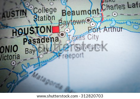 Map view of Houston. (vignette) - stock photo