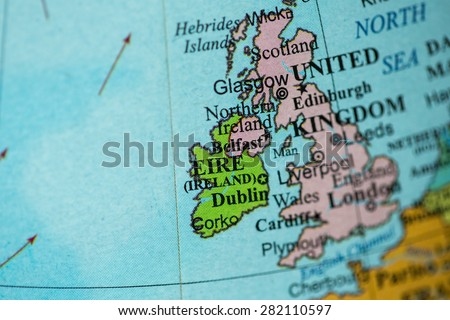 Map view of Ireland on a geographical globe. - stock photo