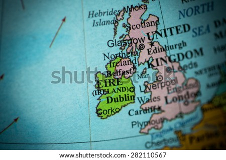 Map view of Ireland on a geographical globe. (vignette) - stock photo