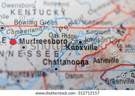 Map view of Knoxville - stock photo