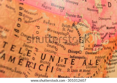 Map view of Madison on a geographical globe. - stock photo