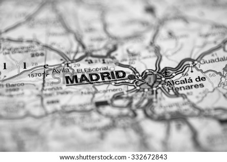Map view of Madrid, Spain on a geographical map. (black and white) - stock photo