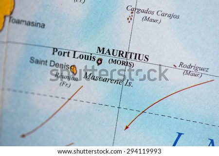 Map view of Mauritius on a geographical globe. - stock photo