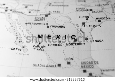 Map view of Mexico state, Africa. - stock photo