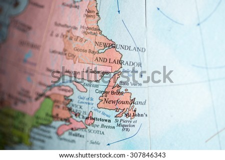Map view of Newfoundland, Canada on a geographical map. - stock photo