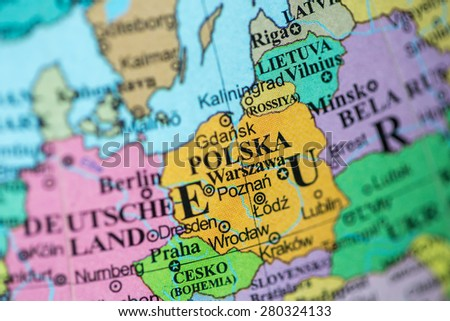 Map view of Poland on a geographical globe. - stock photo