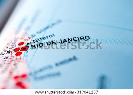 Map view of Rio de Janeiro, Brazil. - stock photo