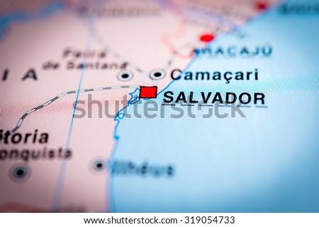 Map view of Salvador, Brazil. (vignette) - stock photo