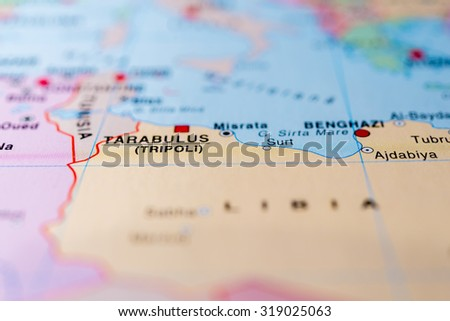 Map view of Tripoli, Libya. - stock photo