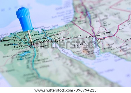 Map with blue Pin in Cairo, Egypt - stock photo